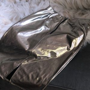 Gold Faux Leather Skirt